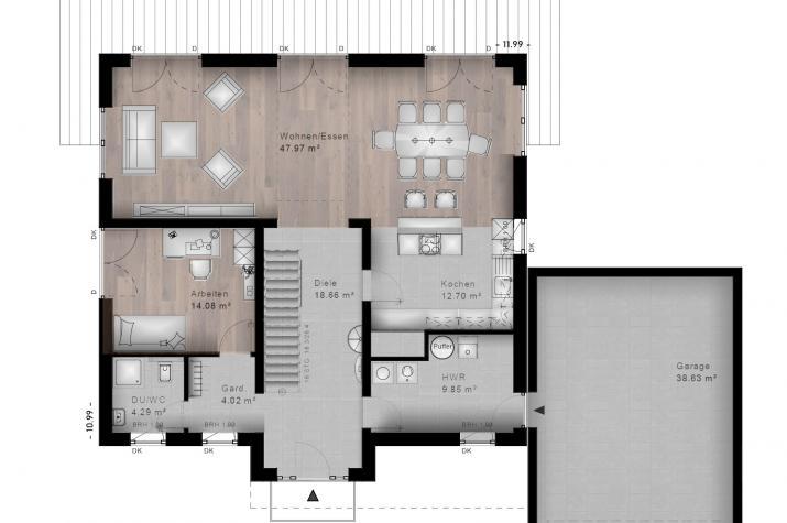 STADTVILLA SESSENHAUSEN 40-030 - Grundriss Erdgeschoss
