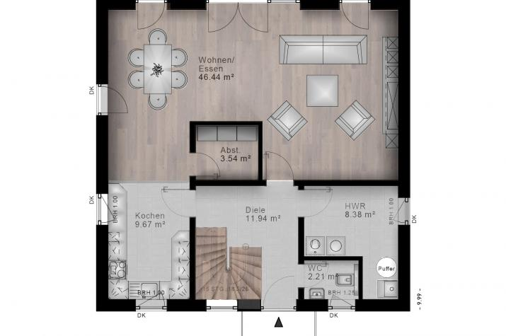 STADTVILLA WASSENACH 40-020 - Grundriss Erdgeschoss