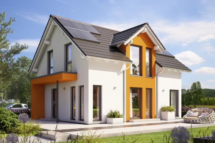 SUNSHINE 125 V3 - Preisgekröntes Traumhaus mit Zwerchgiebel, Photovoltaik und Eingangsüberdachung