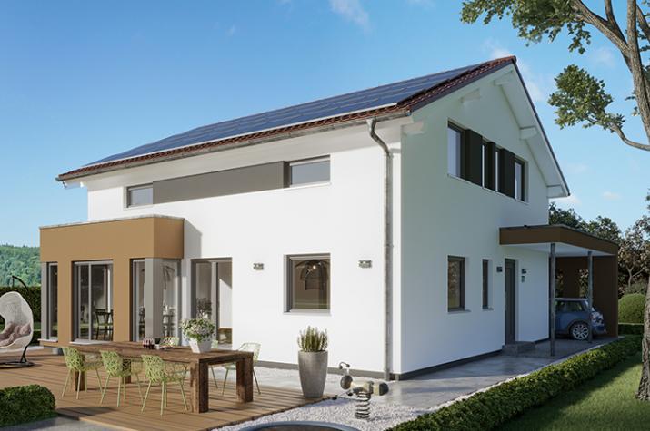 """SUNSHINE 167 V5 - Attraktives Einfamilienhaus mit Übereck-Erker und Carport """"Style"""" mit Eingangsüberdachung"""