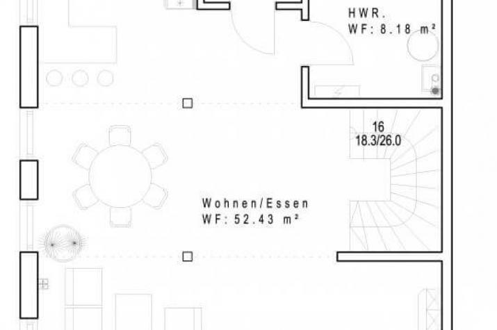 Sachsenheimer Fertighaus DHH151 - Grundriss EG