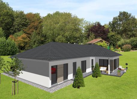 Frei planbare Häuser Schicker Winkelbungalow mit integrierter Garage - www.jk-traumhaus.de
