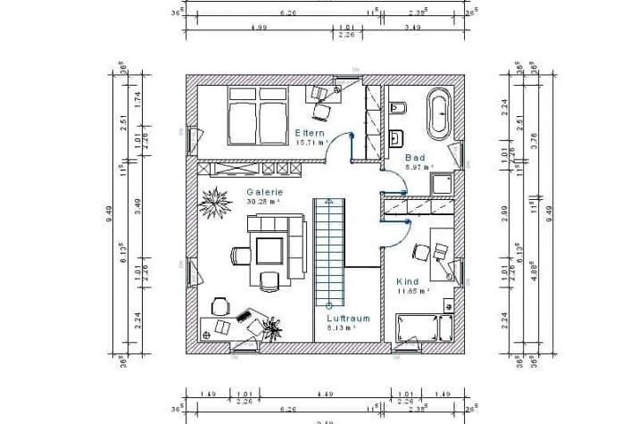Stadtvilla 20.18 - Skizze Dachgeschoss