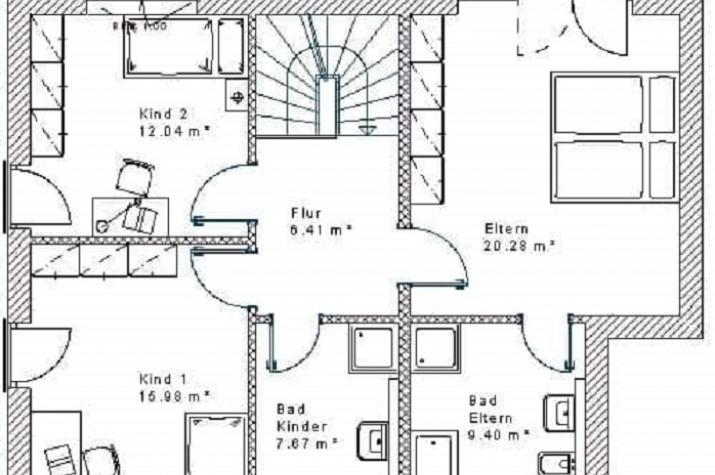 Stadtvilla 20.41 - Skizze Dachgeschoss
