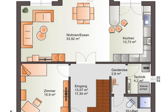 Villa - Stadthaus - Landhaus - Erker - Freisitz OG - schlüsselfertig - Grundrissvorschlag EG