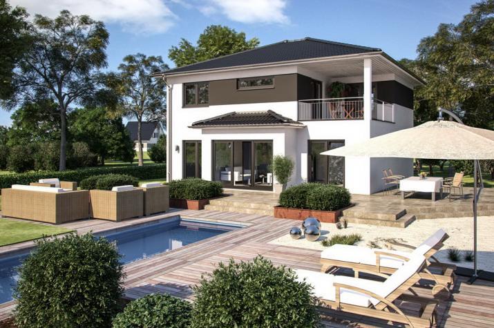 Villa - Stadthaus - Landhaus - Erker - Freisitz OG - schlüsselfertig - Villa Klassisch 169 Gartenansicht