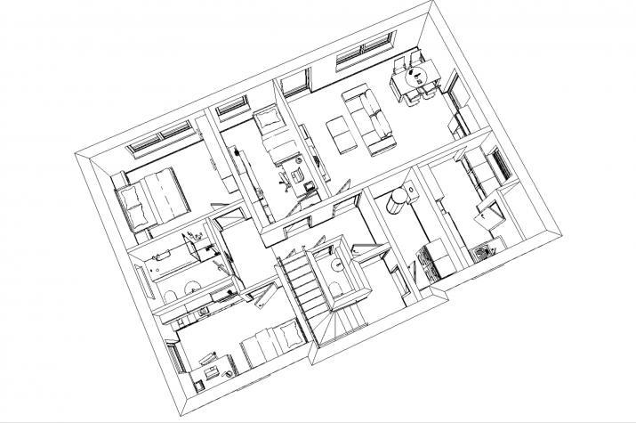 Zweifamilienhaus ca. 2 x  80-90 m², nach jetzt gültiger EnEV - Erdgeschoss 3D