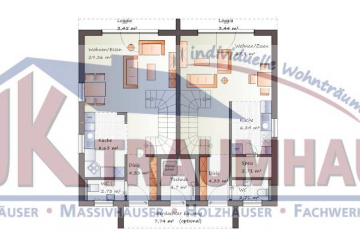 ...individuell geplant ! - Doppelhaus im Bauhausstil - www.jk-traumhaus.de - Grundriss EG