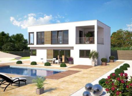 Frei planbare Häuser ...individuell geplant ! - Futuristisches Bauhaus mit Loggia für grenzenlosen Wohngenuss - www.jk-traumhaus.de