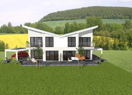 Zweifamilienhaus ...individuell geplant ! - Futuristisches Pultdach-Doppelhaus - www.jk-traumhaus.de