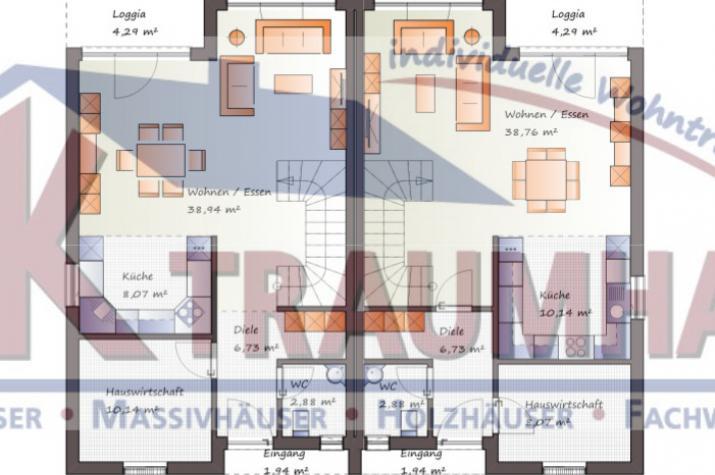 ...individuell geplant ! - Futuristisches Pultdach-Doppelhaus - www.jk-traumhaus.de - Grundriss EG