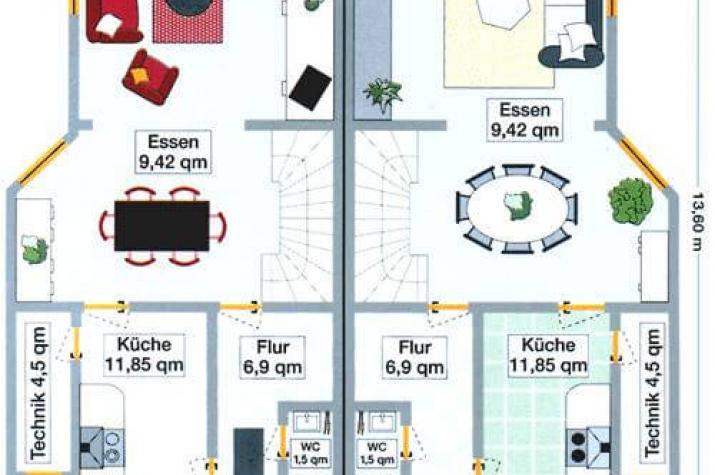 ...individuell geplant ! - Hübsches Doppelhaus mit Winkeln, Gauben und Balkon - www.jk-traumhaus.de - grundriss eg