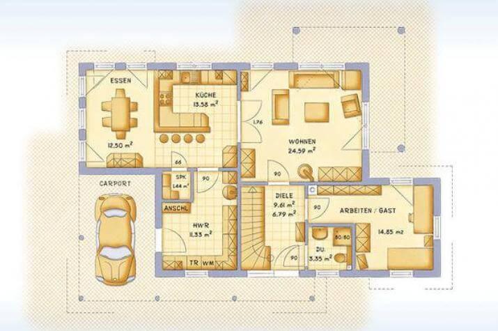 ...individuell geplant ! - Mediterrane Stadtvilla mit integriertem Carport und Wintergarten - www.jk-traumhaus.de - grundriss eg