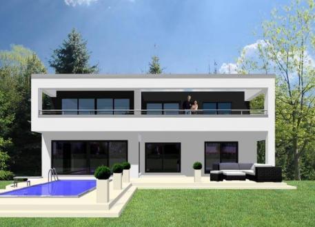 Frei planbare Häuser ...individuell geplant ! - Repräsentativer Kubus mit Weitsicht - www.jk-traumhaus.de