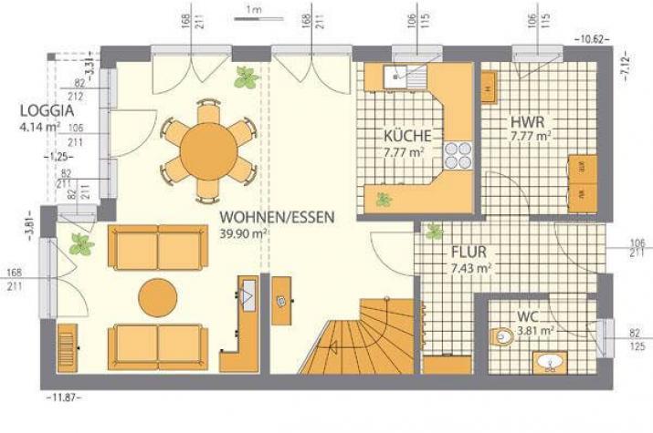 ...individuell geplant ! - Schräge Pultdachvilla mit modernem Ambiente - www.jk-traumhaus.de - Grundriss EG