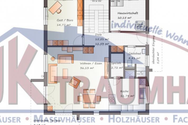...individuell geplant ! - Stadtvilla in modernem Ambiente - www.jk-traumhaus.de - Grundriss EG