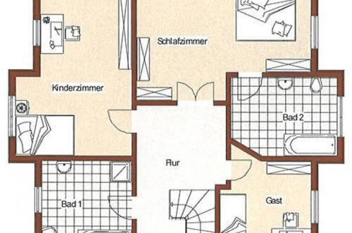 ...individuell geplant ! -Mediteranes Einfamilienhaus mit vier Erkern - www.jk-traumhaus.de - grundriss dg